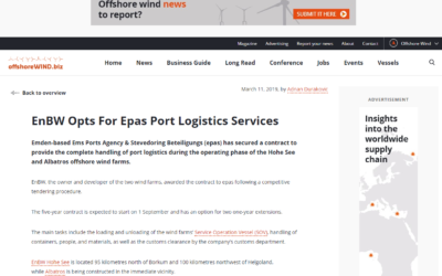 Offshorewind.biz: EnBW Opts For Epas Port Logistics Services