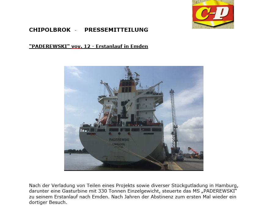 Chipolbrok Shipping 20.08.19 – MS Paderewski – Erstanlauf in Emden
